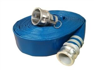 """3"""" x 50' Blue Discharge Hose w/ Camlock Fittings, Dewatering, Pond, Construction"""