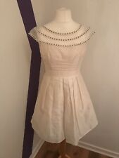 Ladies Poem By Oliver Bonas White Formal Skater Dress Beautiful Lace VGC Size 10