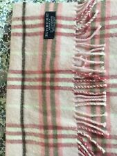 BURBERRY SCARF 100% CASHMERE MADE IN ENGLAND PINK FRINGED 70/32 CHRISTMAS