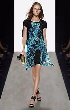 BCBG Max Azria Runway $398 Dress XXS Blue Black Destructed Wrap Lined