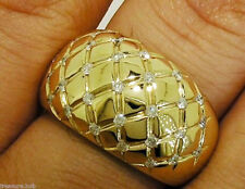 R157 Stunning 9ct Heavy Yellow Gold 0.58ct Natural Diamond Dome Ring size N