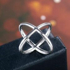 New Women's Criss Cross Finger Ring 925 Silver Filled Size 10 Fashion Jewelry