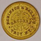 """1863 Brass Civil War Merchant Token """"Robinson & Ballou"""" Troy NY #NY-890-E-9b"""