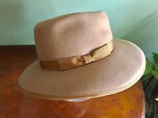 New listing Vintage Lady Stetson Western 100% Wool Felt Hat Tan Brown w/ Hatband Made in Usa