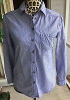 Anthropologie Women's Meadow Rue Shirt Blue Pinstripe Button Down Size 4 (I388)
