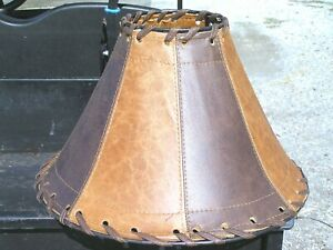 Western Leather Lamp Shade, Cowhide panels 0483
