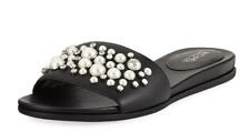 mismatch size 6/ 6.5 Michael Kors Gia  Black Leather Pearl Slides Womens Sandals