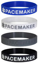 PACEMAKER Medical Alert ID Silicone Bracelets Adult Size (4 Pack)