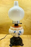 """Vintage Milk Glass Hurricane Oil Lamp Converted To Electric 17.5"""" Tall"""