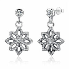 New Authentic 925 Sterling Silver Dangle Clear CZ Snowflake Earrings for Girls