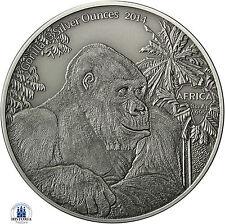 África serie: congo 2000 francos CFA 2014 Antique Finish gorila 3 Silver ounces