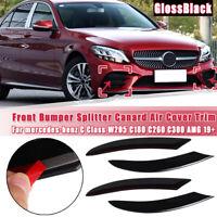 4X Gloss Bumper Splitter Spoiler Air Cover For Benz C Class W205 C180 C260 AMG