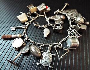 Vintage 1940s Sterling Silver Charm Bracelet
