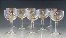 Set of 8 Crystal Glass Cordial Dessert Wine Stems w/ Golf Theme '19th Hole'