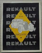 RENAULT 10CV VIVAQUATRE Car Sales Brochure 1932 FRENCH TEXT #V.123-9-31