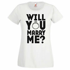 2Personal Women's Graphic T-shirt - Will You Marry Me? - White Soft Cotton