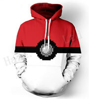 Pocket Monster Pokémon Poké Ball Unisex Printed Loose Hoodied Hoody Clothes