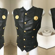 GIANNI VERSACE leather with Medusa medallions bondage vest Italian size 52
