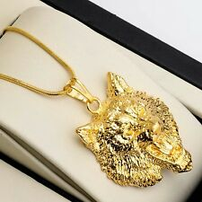 "Men Necklace 18k Yellow Gold Filled wolf Pendant 18"" Link Charms Chain HOT"