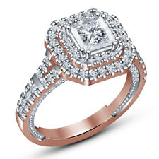 Cut Diamond Ladies Solitaire Engagement Ring 14K Rose Gold Over 2 Ct Princess