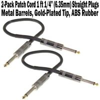 "2-Pack 12"" Straight Patch Cord 1/4 Guitar Effect Pedalboard Cable 1 ft Gold-Tip"