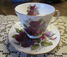 Duchess Fine Bone China Cup and Saucer, Maroon Roses & Sweet Pea, England