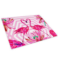 Retro Pink Flamingo  Glass Chopping Board Kitchen Worktop Saver Protector