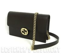 GUCCI black Pebbled Leather INTERLOCKING G Mini CHAIN bag wallet NWT Authentic!