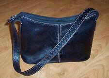 Medium FOSSIL Black Leather Shoulder Bag, Detailed Stitching