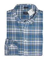 J Crew Factory - Mens M - Slim Fit Blue Plaid Button-Front Oxford Cotton Shirt