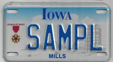 IOWA SAMPLE MOTORCYCLE LICENSE PLATE for Legion of Merit Recipients
