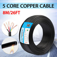 8m 5 Core RVV Copper Cable 0.5mm² Flame Retardant PVC Sheathed Electric Wire