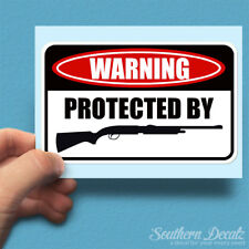 "Protect By Shotgun Danger Warning - Vinyl Decal Sticker - c8 - 6"" x 3.75"""
