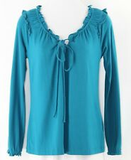 Motto XS Teal Ruffle Detail Modal Cotton Spandex Blend Peasant Style Top M230