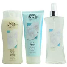 Body Fantasies Fresh White Musk Body Spray 8 oz & Body Lotion 7 oz & Body Wash 1