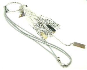Quartz Spinel Gemstone & Seed Bead Tassel Necklace Woman's Fashion
