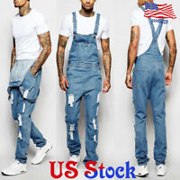 Men Denim Pants Suspenders Loose Overalls Trousers Bib Jeans Jumpsuits Straight