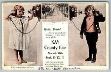 Newkirk Oklahoma~Kay County Fair~Little Boy & Girl on Vintage Wall Phones~1911