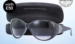 Avon Swarkoski Black Sunglasses and Black Velvet Glasses Case