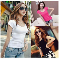Women Shirts Short Sleeve T Shirts Casual Blouse Tops Ladies Cotton Slim Shirts