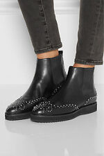 "MICHAEL KORS ""SOFIE"" STUDDED ANKLE LEATHER BOOTS BLACK.SZ:6.5"