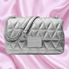 NWT $348 Michael Kors Quilted Metallic Leather Sloan Large Chain Shoulder Bag