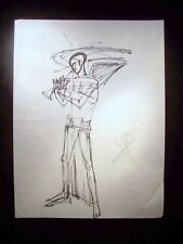 Man Plays the Trumpet 1946-59 Original Ink Sketch by C. Kelm