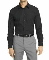 NWT Van Heusen Men's Dress Shirt Regular Fit Solid 17 17.5 34-35, Extreme Black