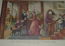 THE FOUR SEASONS OF LIFE MIDDLE AGE Family in Foyer of House Currier Ives Print