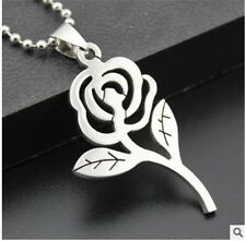HOT rose Womens Men's Silver 316L Stainless Steel Titanium Pendant Necklace