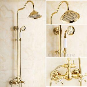 "Polished Gold Bathroom Rain Shower Head Faucet Round 8"" Shower Hand Spray Set"