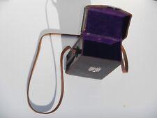 Vintage Voigtlander Leather Box Camera Case w/ Strap • Purple Felt