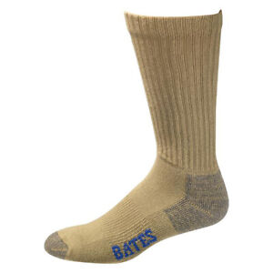 Bates Cotton Comfort Army Brown 3 Pk Socks Made in USA FAST FREE USA SHIPPING