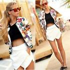 Women Fashion Stand Collar Long Sleeve Zipper Floral Printed Lady Bomber Jacket